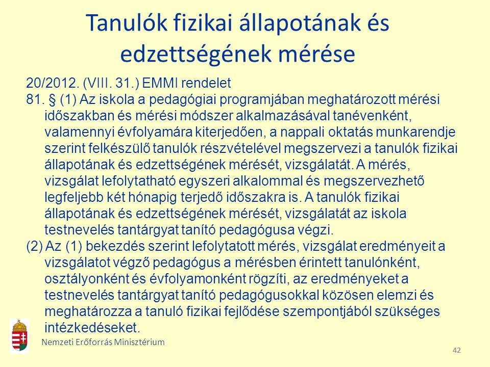 42 Tanulók fizikai állapotának és edzettségének mérése 20/2012. (VIII. 31.) EMMI rendelet 81. § (1) Az iskola a pedagógiai programjában meghatározott