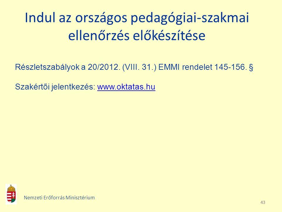 43 Indul az országos pedagógiai-szakmai ellenőrzés előkészítése Részletszabályok a 20/2012. (VIII. 31.) EMMI rendelet 145-156. § Szakértői jelentkezés