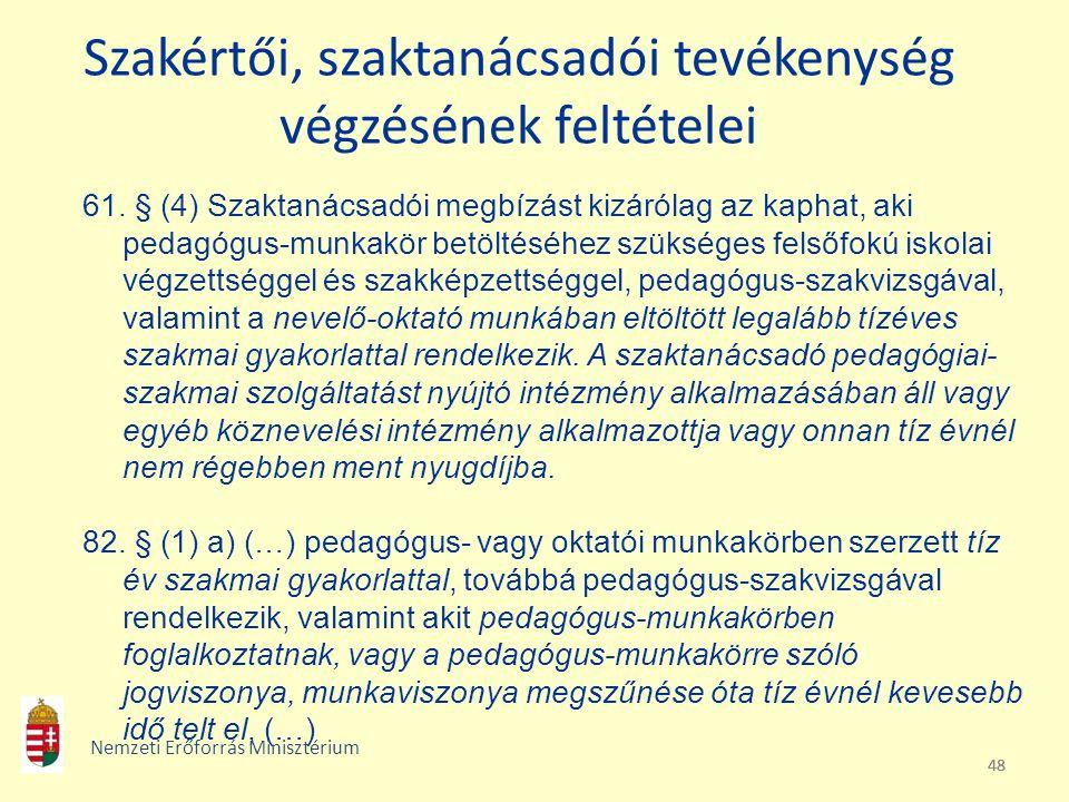 48 Szakértői, szaktanácsadói tevékenység végzésének feltételei 61. § (4) Szaktanácsadói megbízást kizárólag az kaphat, aki pedagógus-munkakör betöltés