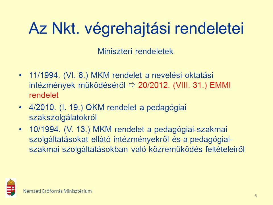 666 Az Nkt. végrehajtási rendeletei Miniszteri rendeletek 11/1994. (VI. 8.) MKM rendelet a nevelési-oktatási intézmények működéséről  20/2012. (VIII.