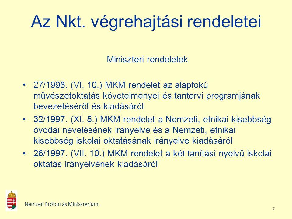777 Az Nkt. végrehajtási rendeletei Miniszteri rendeletek 27/1998. (VI. 10.) MKM rendelet az alapfokú művészetoktatás követelményei és tantervi progra