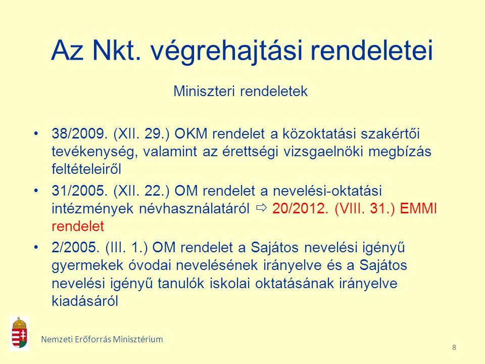 888 Az Nkt. végrehajtási rendeletei Miniszteri rendeletek 38/2009. (XII. 29.) OKM rendelet a közoktatási szakértői tevékenység, valamint az érettségi