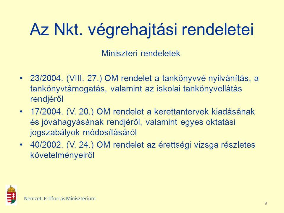 999 Az Nkt. végrehajtási rendeletei Miniszteri rendeletek 23/2004. (VIII. 27.) OM rendelet a tankönyvvé nyilvánítás, a tankönyvtámogatás, valamint az