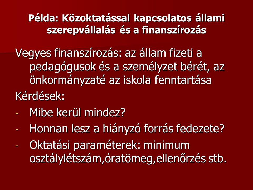 Példa: Közoktatással kapcsolatos állami szerepvállalás és a finanszírozás Vegyes finanszírozás: az állam fizeti a pedagógusok és a személyzet bérét, a