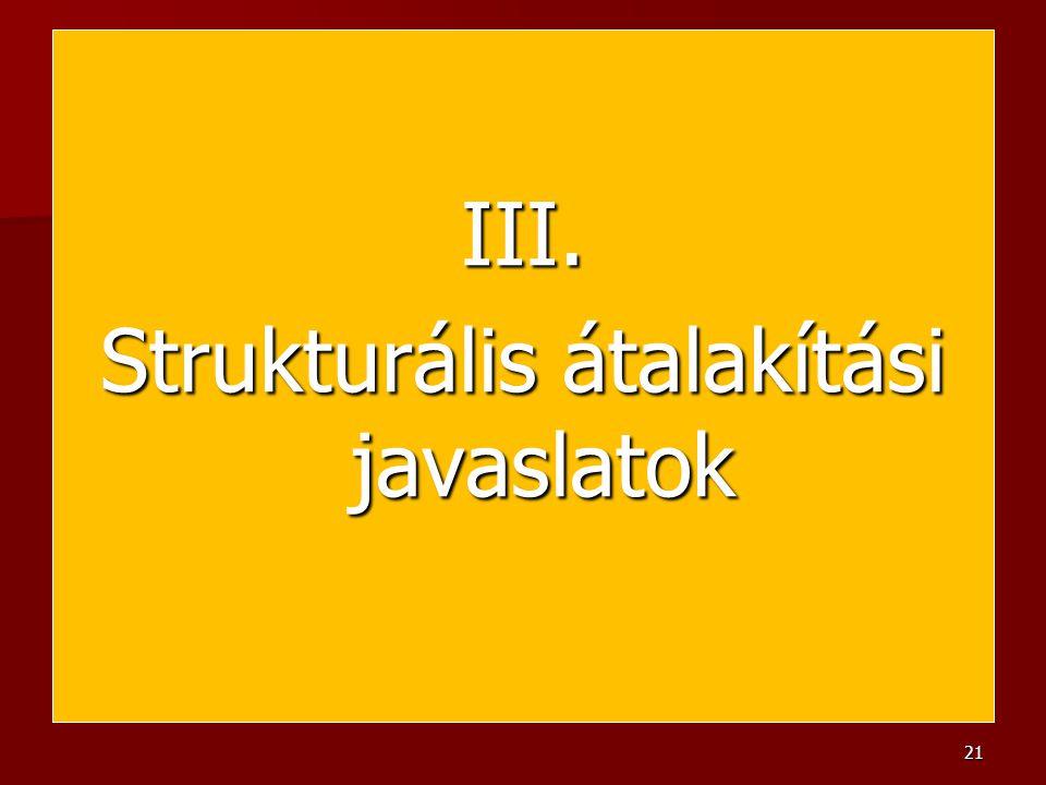 III. Strukturális átalakítási javaslatok 21