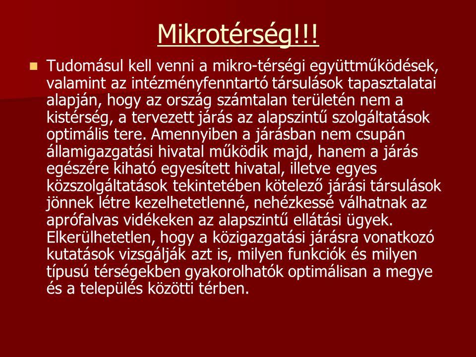 Mikrotérség!!! Tudomásul kell venni a mikro-térségi együttműködések, valamint az intézményfenntartó társulások tapasztalatai alapján, hogy az ország s