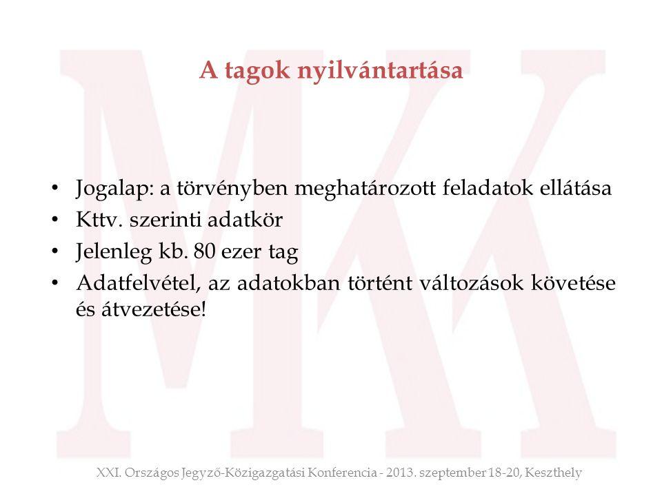 A tagok nyilvántartása Jogalap: a törvényben meghatározott feladatok ellátása Kttv. szerinti adatkör Jelenleg kb. 80 ezer tag Adatfelvétel, az adatokb