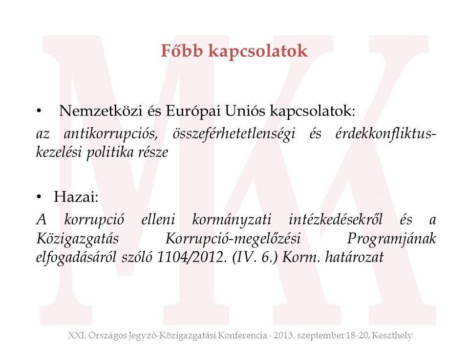 Főbb kapcsolatok Nemzetközi és Európai Uniós kapcsolatok: az antikorrupciós, összeférhetetlenségi és érdekkonfliktus- kezelési politika része Hazai: A
