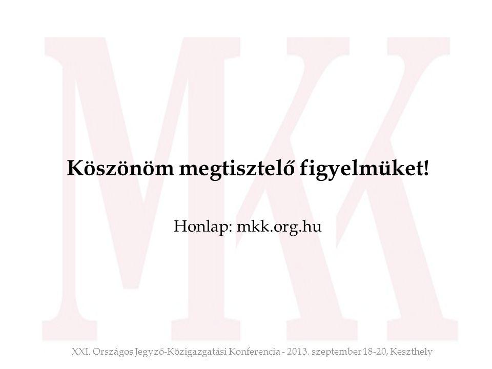 Köszönöm megtisztelő figyelmüket! Honlap: mkk.org.hu XXI. Országos Jegyző-Közigazgatási Konferencia - 2013. szeptember 18-20, Keszthely