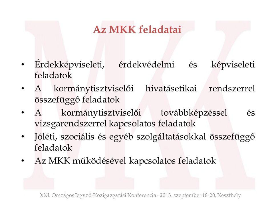 Az MKK feladatai Érdekképviseleti, érdekvédelmi és képviseleti feladatok A kormánytisztviselői hivatásetikai rendszerrel összefüggő feladatok A kormán
