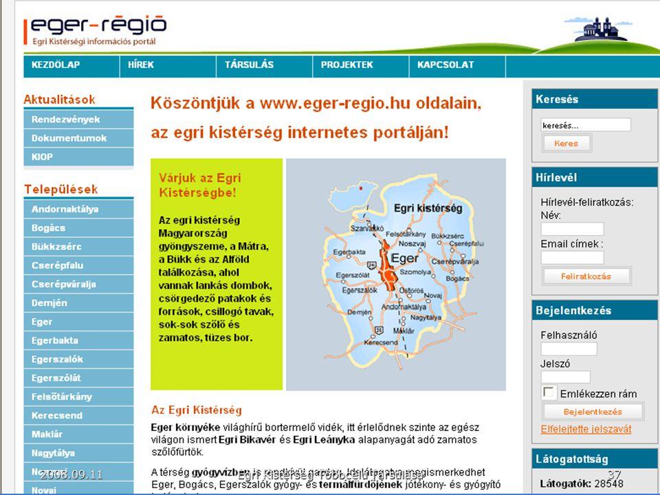 37 Egri Kistérség Többcélú Társulása 2008.09.11
