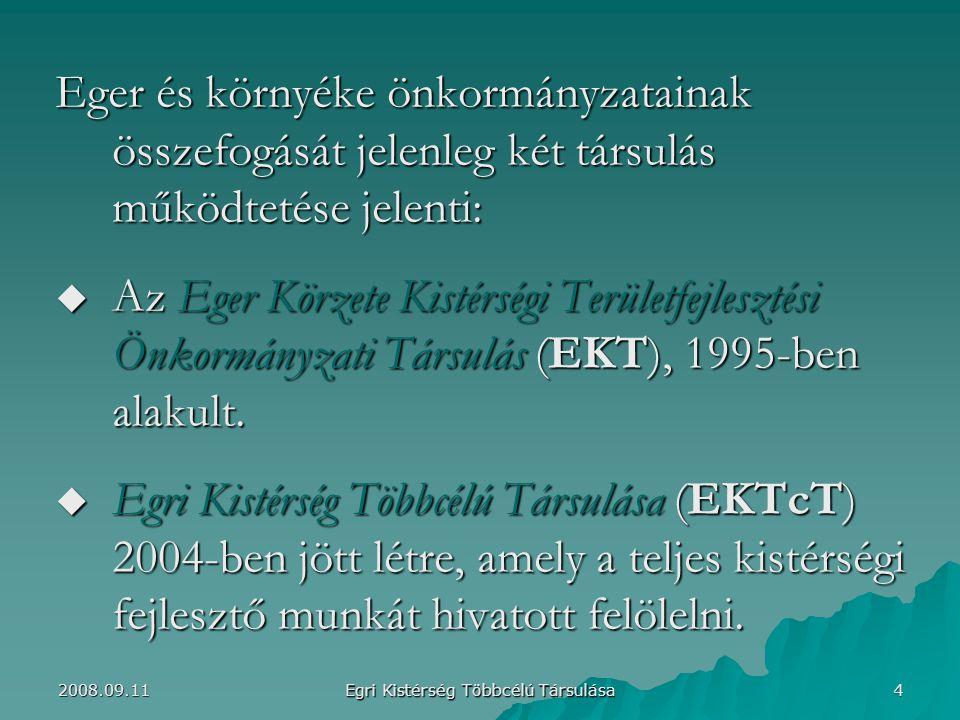 Eger és környéke önkormányzatainak összefogását jelenleg két társulás működtetése jelenti:  Az Eger Körzete Kistérségi Területfejlesztési Önkormányzati Társulás (EKT), 1995-ben alakult.