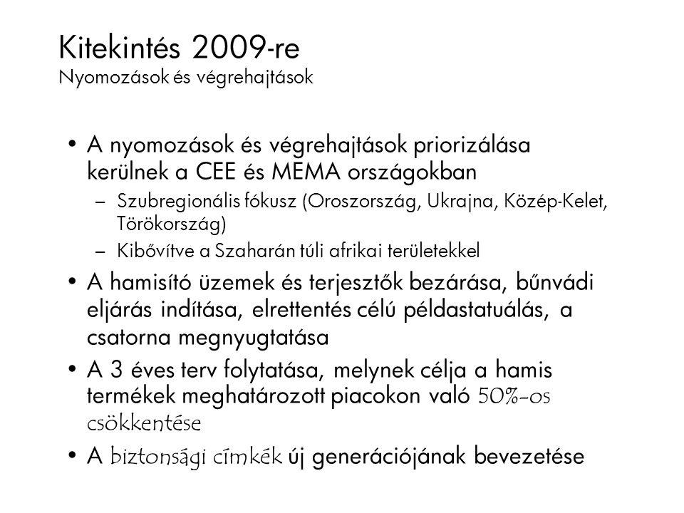 Kitekintés 2009-re Nyomozások és végrehajtások A nyomozások és végrehajtások priorizálása kerülnek a CEE és MEMA országokban – Szubregionális fókusz (