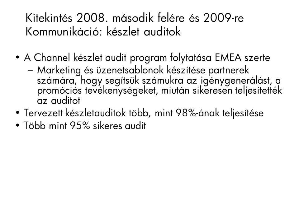 A Channel készlet audit program folytatása EMEA szerte – Marketing és üzenetsablonok készítése partnerek számára, hogy segítsük számukra az igénygenerálást, a promóciós tevékenységeket, miután sikeresen teljesítették az auditot Tervezett készletauditok több, mint 98%-ának teljesítése Több mint 95% sikeres audit Kitekintés 2008.