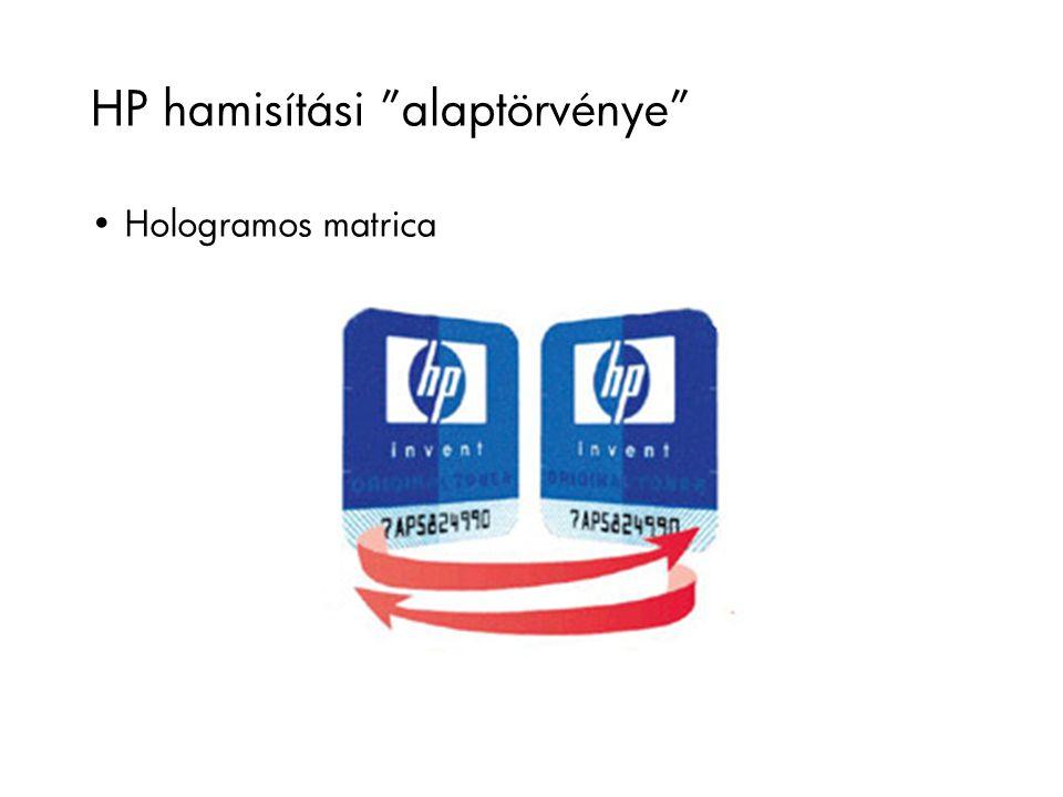 """HP hamisítási """"alaptörvénye"""" Hologramos matrica"""