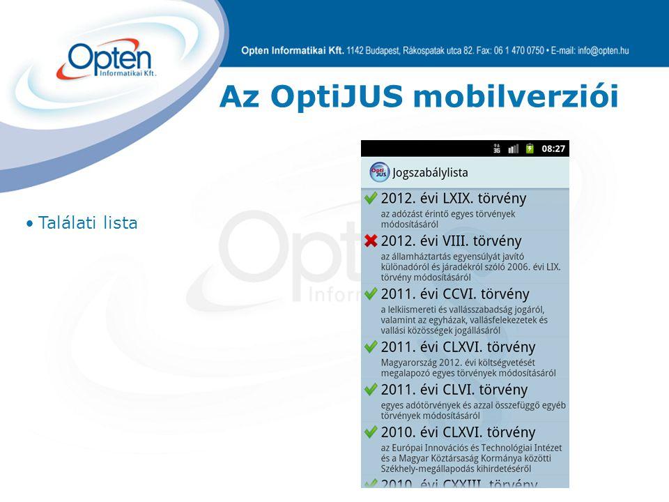 Az OptiJUS mobilverziói Találati lista