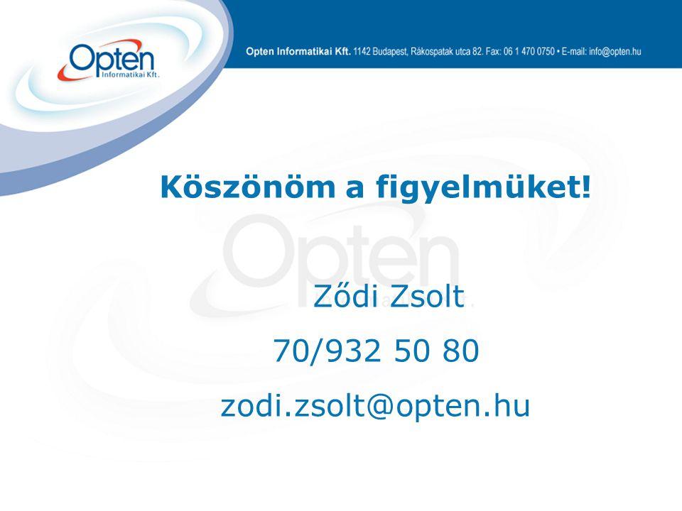 Köszönöm a figyelmüket! Ződi Zsolt 70/932 50 80 zodi.zsolt@opten.hu