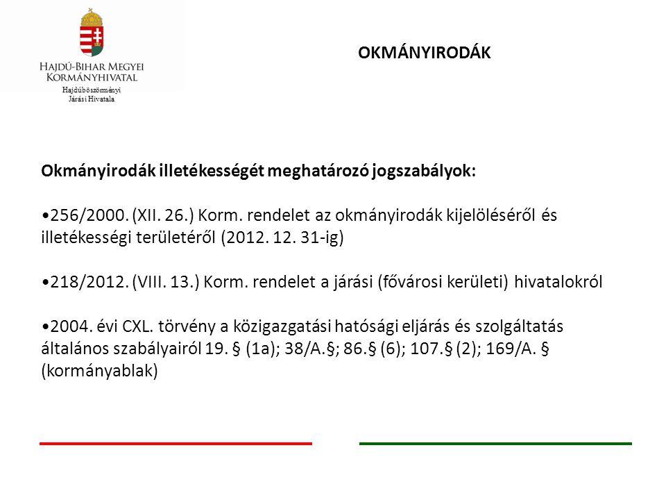 OKMÁNYIRODÁK Okmányirodák illetékességét meghatározó jogszabályok: 256/2000. (XII. 26.) Korm. rendelet az okmányirodák kijelöléséről és illetékességi