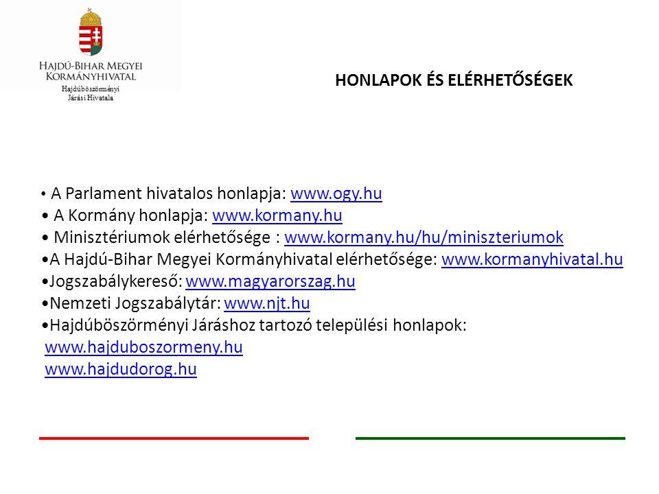 HONLAPOK ÉS ELÉRHETŐSÉGEK A Parlament hivatalos honlapja: www.ogy.huwww.ogy.hu A Kormány honlapja: www.kormany.huwww.kormany.hu Minisztériumok elérhet