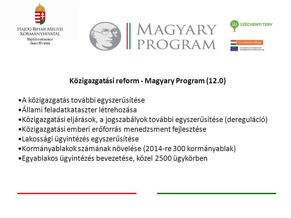 Hajdúböszörményi Járási Hivatala Közigazgatási reform - Magyary Program (12.0) A közigazgatás további egyszerűsítése Állami feladatkataszter létrehozá