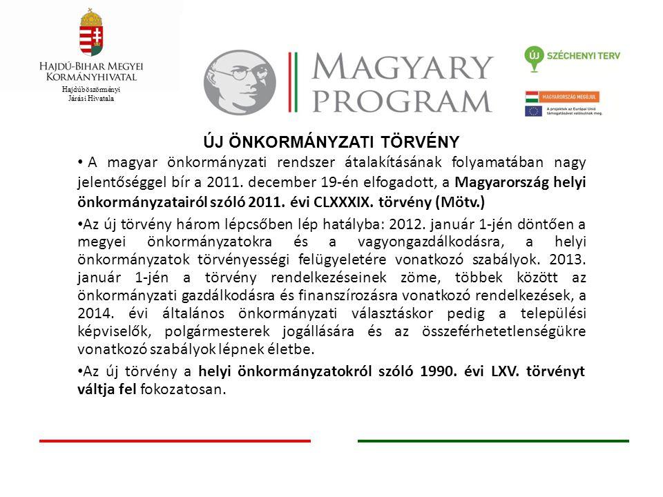 Hajdúböszörményi Járási Hivatala ÖNKORMÁNYZATI REFORM ELEMEI 2010 júniusától nagy számú, jelentős jogalkotási folyamat megindítása Helyi közügyek rendszerének felülvizsgálata Államigazgatási és önkormányzati hatósági feladatok szétválasztása Széll Kálmán Terv keretében szolgáltatási feladatellátás és intézmény- fenntartási kérdések rendezése Reformok megvalósításához szükséges önkormányzati fejlesztési tervek kidolgozása Új Széchenyi Terv, mint keretprogram az önkormányzati fejlesztési tervek megvalósításához