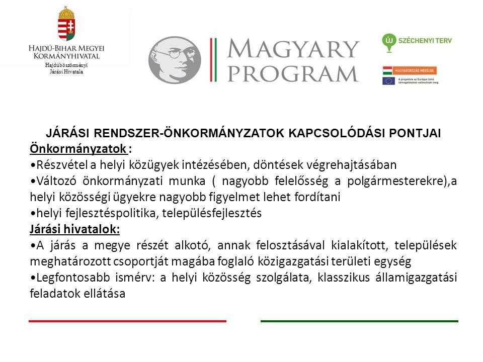 Hajdúböszörményi Járási Hivatala JÁRÁSI RENDSZER-ÖNKORMÁNYZATOK KAPCSOLÓDÁSI PONTJAI Önkormányzatok : Részvétel a helyi közügyek intézésében, döntések