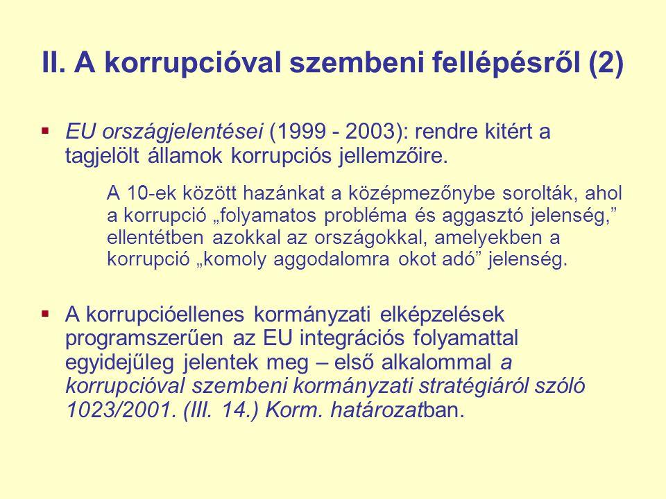 II. A korrupcióval szembeni fellépésről (2)  EU országjelentései (1999 - 2003): rendre kitért a tagjelölt államok korrupciós jellemzőire. A 10-ek köz