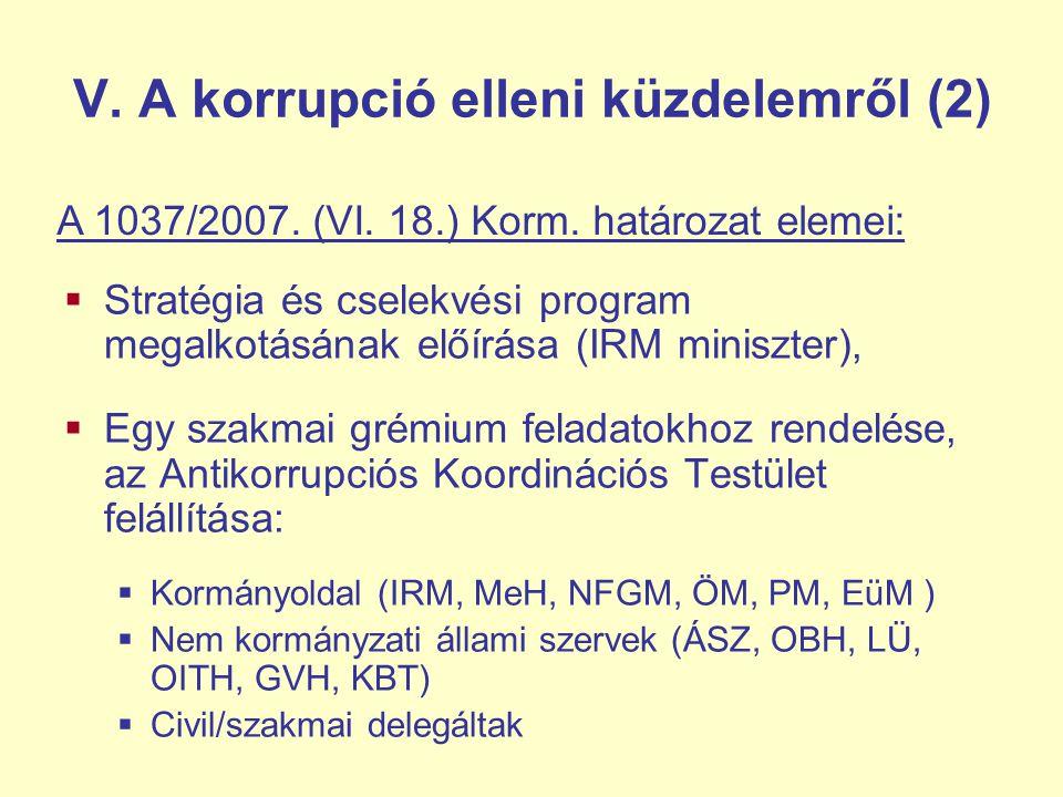 V. A korrupció elleni küzdelemről (2)  Stratégia és cselekvési program megalkotásának előírása (IRM miniszter),  Egy szakmai grémium feladatokhoz re