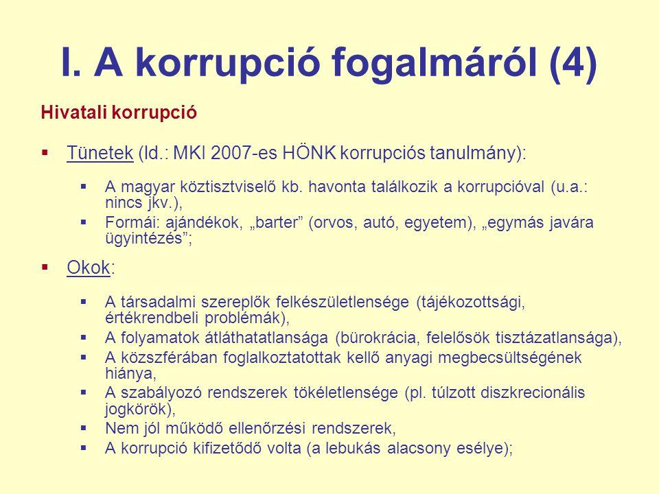 I. A korrupció fogalmáról (4) Hivatali korrupció  Tünetek (ld.: MKI 2007-es HÖNK korrupciós tanulmány):  A magyar köztisztviselő kb. havonta találko