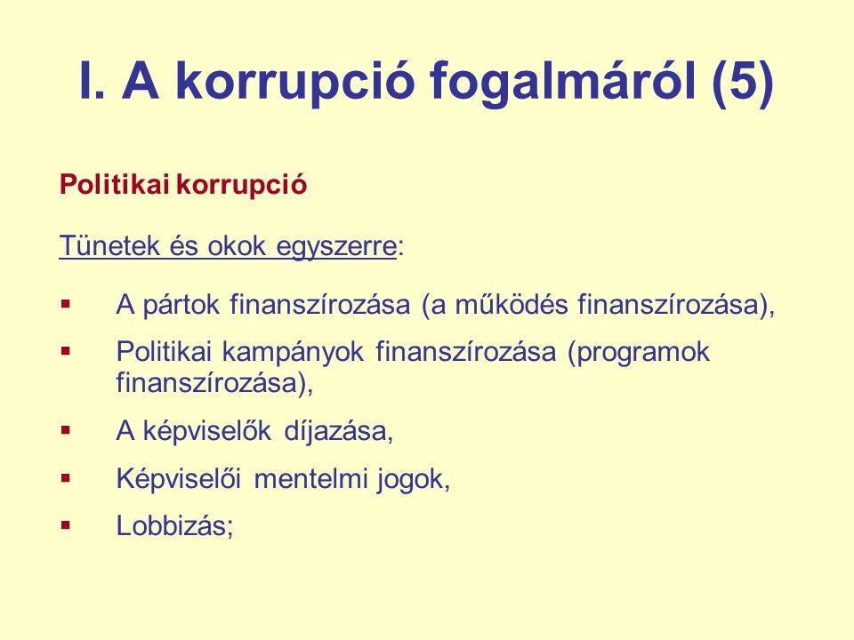 I. A korrupció fogalmáról (5) Politikai korrupció Tünetek és okok egyszerre:  A pártok finanszírozása (a működés finanszírozása),  Politikai kampány
