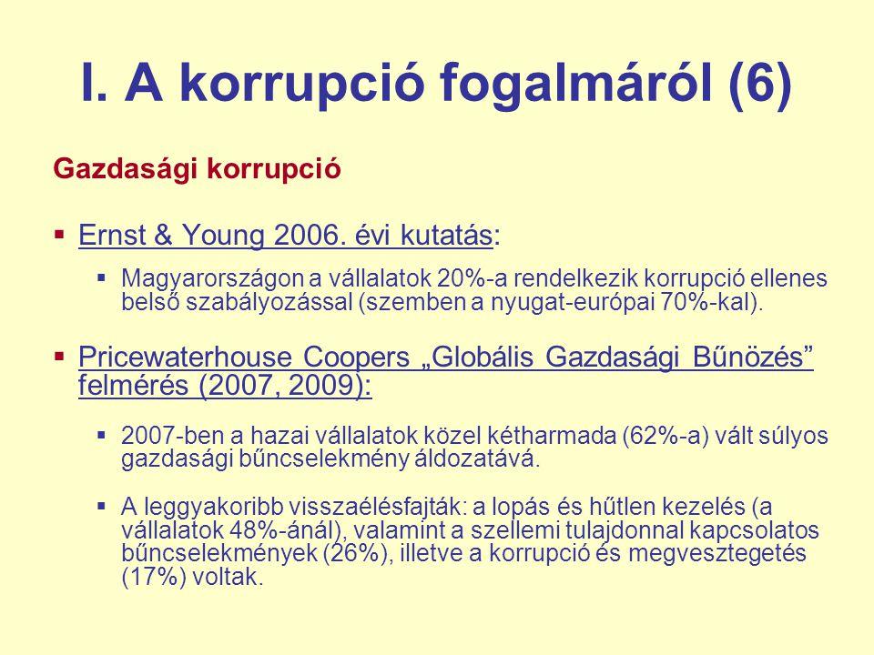 I.A korrupció fogalmáról (6) Gazdasági korrupció  Ernst & Young 2006.