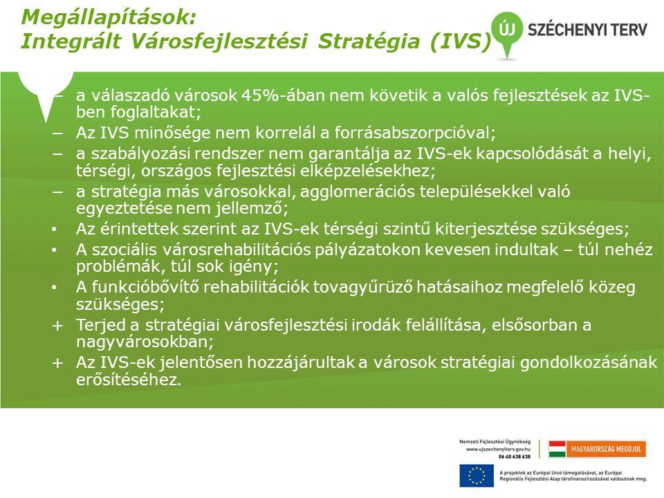 Megállapítások: Integrált Városfejlesztési Stratégia (IVS) −a válaszadó városok 45%-ában nem követik a valós fejlesztések az IVS- ben foglaltakat; −Az