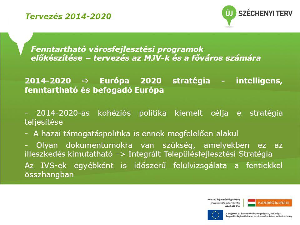 Tervezés 2014-2020 Fenntartható városfejlesztési programok előkészítése – tervezés az MJV-k és a főváros számára 2014-2020  Európa 2020 stratégia - i