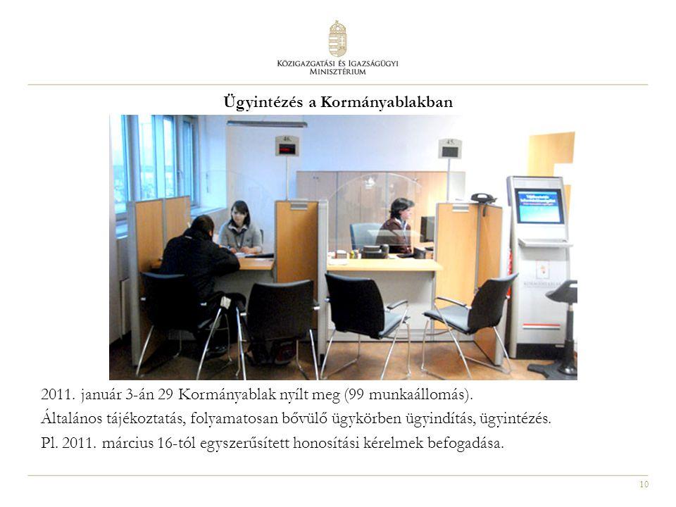 10 Ügyintézés a Kormányablakban 2011. január 3-án 29 Kormányablak nyílt meg (99 munkaállomás). Általános tájékoztatás, folyamatosan bővülő ügykörben ü