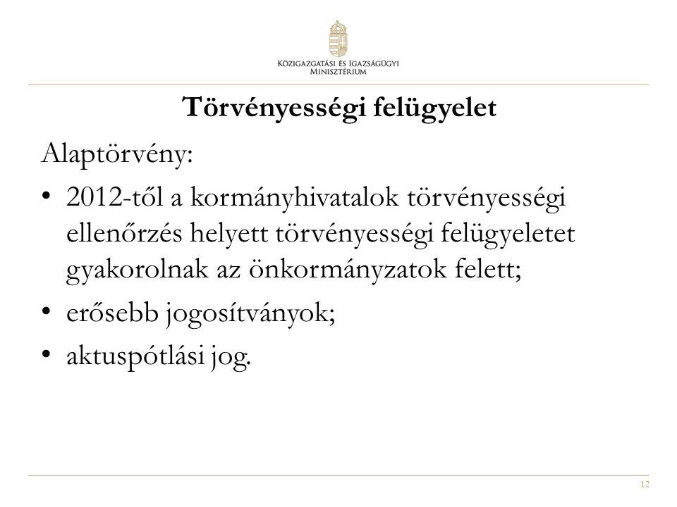 12 Törvényességi felügyelet Alaptörvény: 2012-től a kormányhivatalok törvényességi ellenőrzés helyett törvényességi felügyeletet gyakorolnak az önkorm