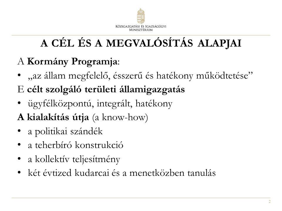 3 Megyei illetékességű hivatalok kialakítása Illetékesség: főváros, megye területe Hivatalok székhelye: Budapest főváros, megyeszékhelyek 19 db megyei és a fővárosi közigazgatási hivatal kialakítása