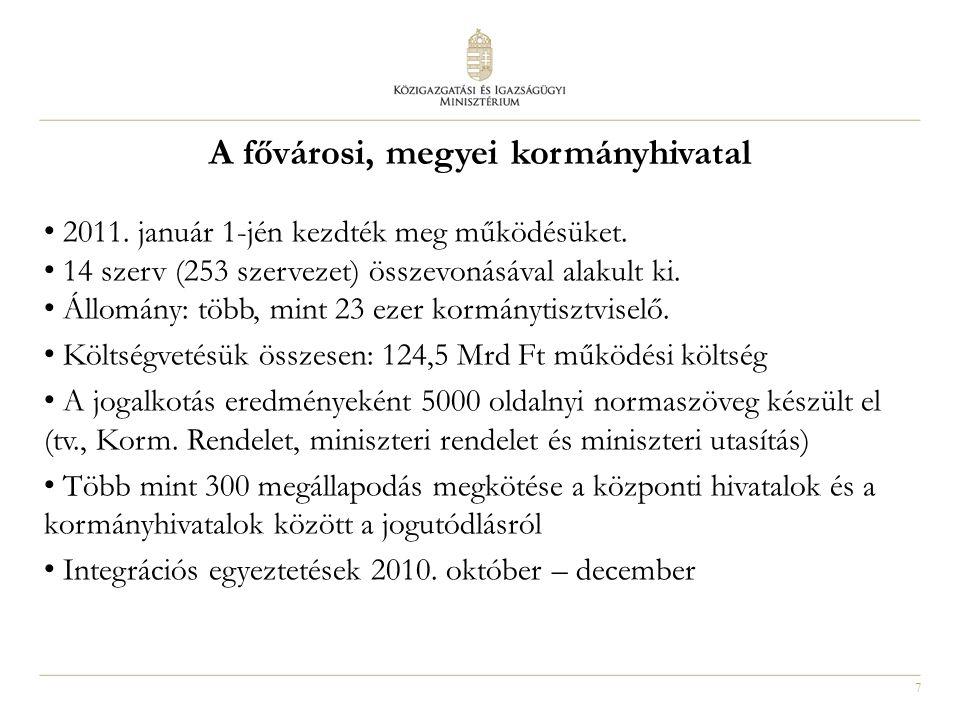 7 A fővárosi, megyei kormányhivatal 2011. január 1-jén kezdték meg működésüket. 14 szerv (253 szervezet) összevonásával alakult ki. Állomány: több, mi