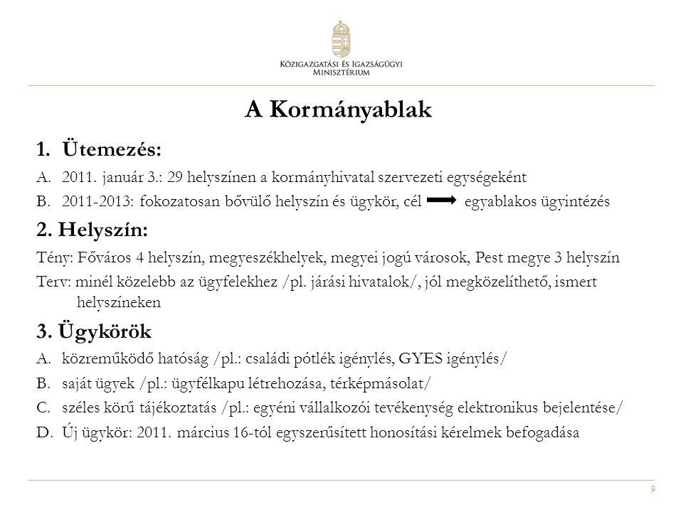 9 1.Ütemezés: A.2011. január 3.: 29 helyszínen a kormányhivatal szervezeti egységeként B.2011-2013: fokozatosan bővülő helyszín és ügykör, cél egyabla