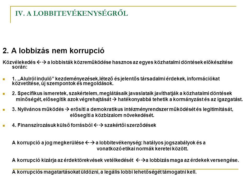 IV. A LOBBITEVÉKENYSÉGRŐL 2. A lobbizás nem korrupció Közvélekedés  a lobbisták közreműködése hasznos az egyes közhatalmi döntések előkészítése sorá