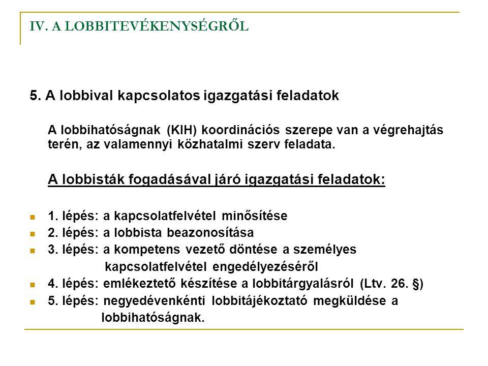 IV. A LOBBITEVÉKENYSÉGRŐL 5. A lobbival kapcsolatos igazgatási feladatok A lobbihatóságnak (KIH) koordinációs szerepe van a végrehajtás terén, az vala