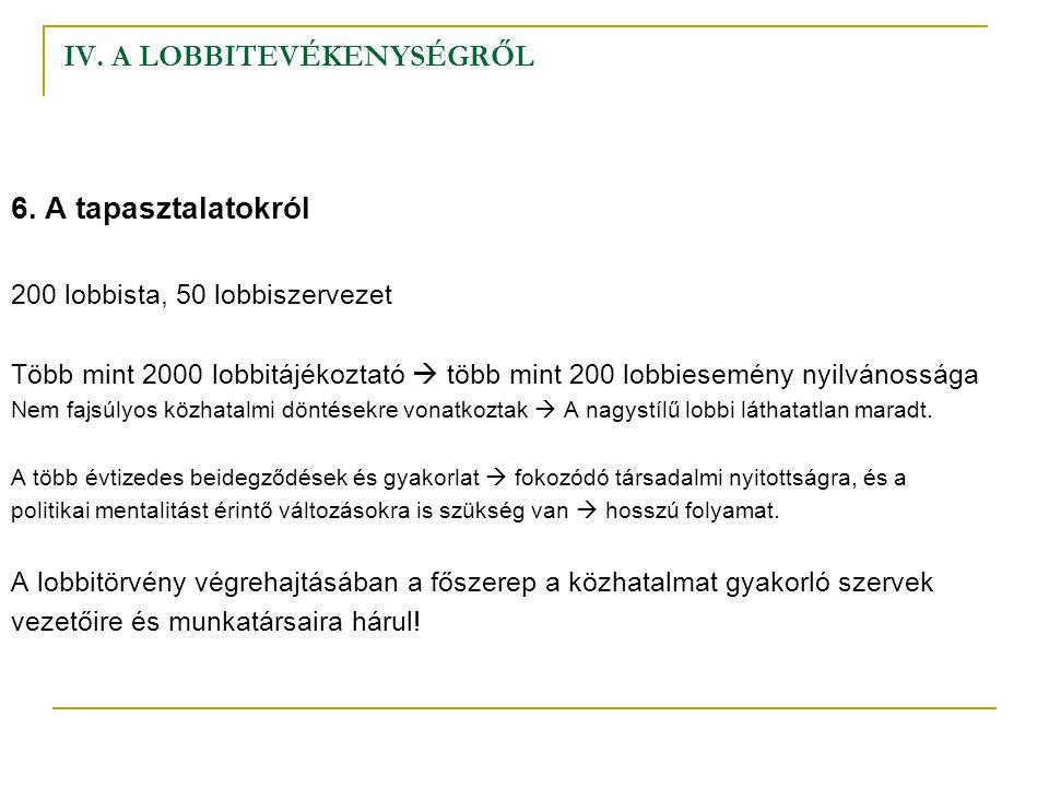 IV. A LOBBITEVÉKENYSÉGRŐL 6. A tapasztalatokról 200 lobbista, 50 lobbiszervezet Több mint 2000 lobbitájékoztató  több mint 200 lobbiesemény nyilvános