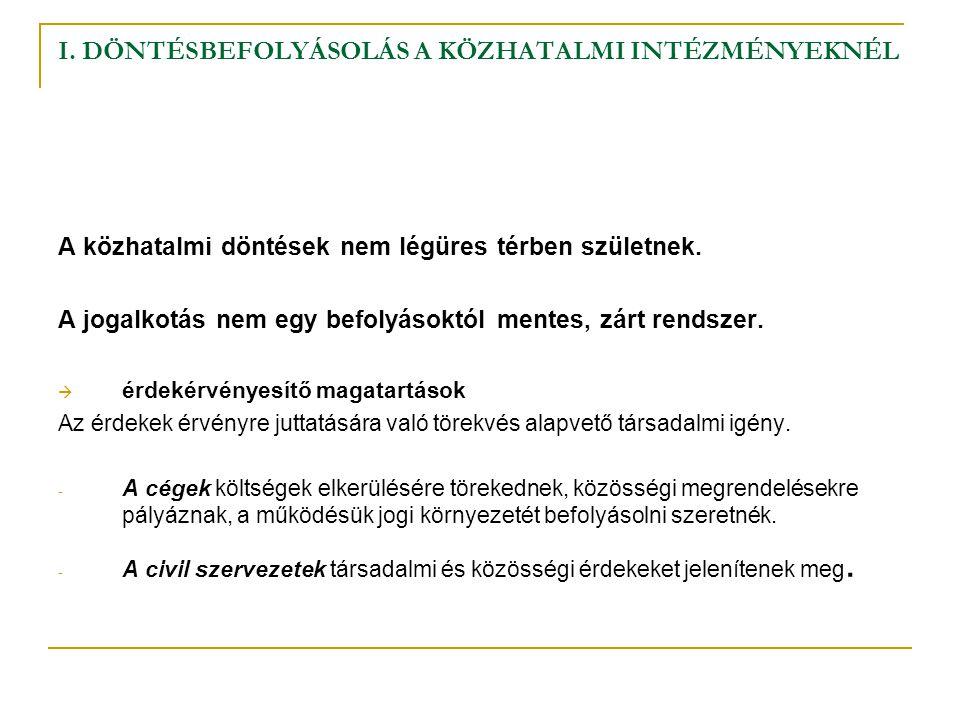 I.DÖNTÉSBEFOLYÁSOLÁS A KÖZHATALMI INTÉZMÉNYEKNÉL 2.