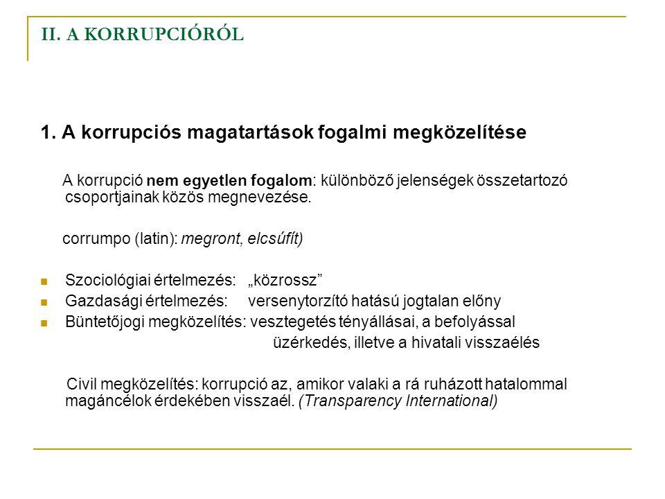 II. A KORRUPCIÓRÓL 1. A korrupciós magatartások fogalmi megközelítése A korrupció nem egyetlen fogalom: különböző jelenségek összetartozó csoportjaina