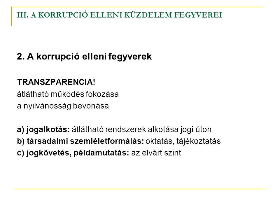 III.A KORRUPCIÓ ELLENI KÜZDELEM FEGYVEREI szankciók 3.