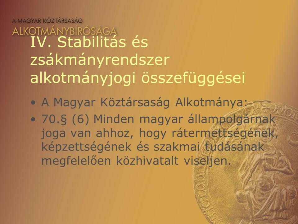 IV. Stabilitás és zsákmányrendszer alkotmányjogi összefüggései A Magyar Köztársaság Alkotmánya: 70.§ (6) Minden magyar állampolgárnak joga van ahhoz,