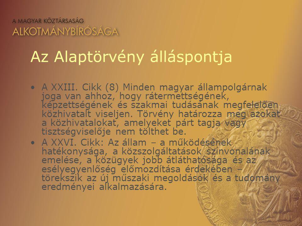Az Alaptörvény álláspontja A XXIII. Cikk (8) Minden magyar állampolgárnak joga van ahhoz, hogy rátermettségének, képzettségének és szakmai tudásának m