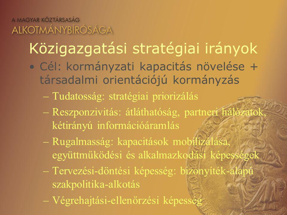 Közigazgatási stratégiai irányok Cél: kormányzati kapacitás növelése + társadalmi orientációjú kormányzás –Tudatosság: stratégiai priorizálás –Reszpon