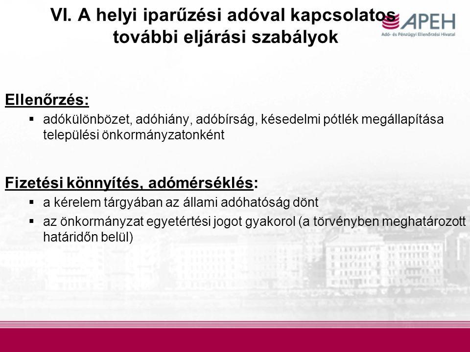 VI. A helyi iparűzési adóval kapcsolatos további eljárási szabályok Ellenőrzés:  adókülönbözet, adóhiány, adóbírság, késedelmi pótlék megállapítása t