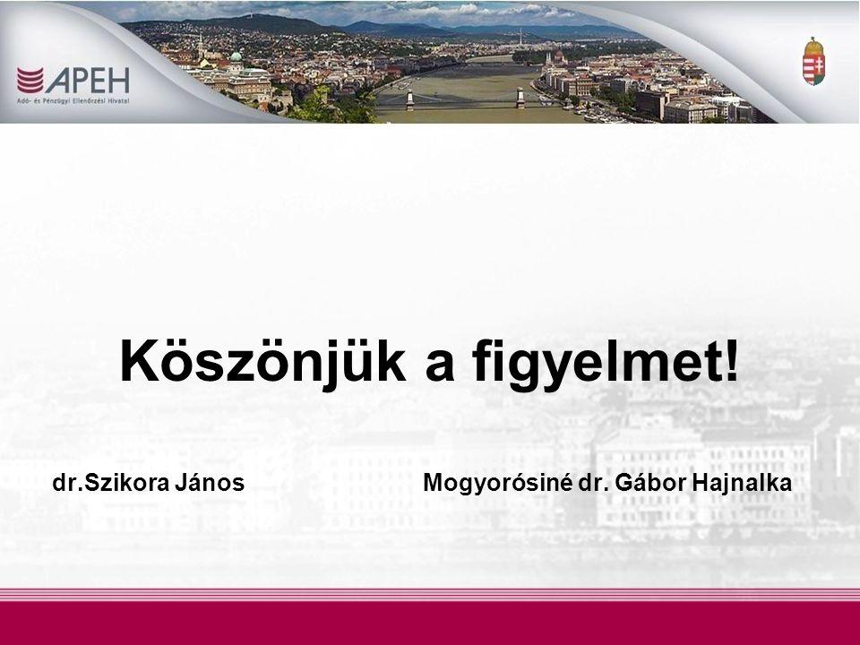 Köszönjük a figyelmet! dr.Szikora János Mogyorósiné dr. Gábor Hajnalka