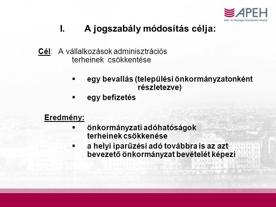 I.A jogszabály módosítás célja: Cél: A vállalkozások adminisztrációs terheinek csökkentése  egy bevallás (települési önkormányzatonként részletezve)